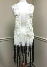Betsey Johnson Women's Long Fringe Ombre Festival Boho Crochet Vest White Black