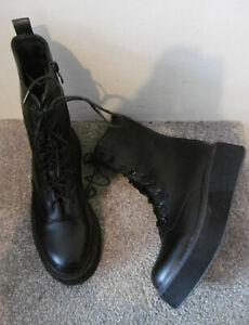 Koi Black Lace Up Chunky Flatform Sole Wedge Boots Size UK 8 EU 41