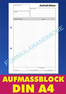 Aufmaßblock DIN A4 NEU, Block á 50 Blatt, Aufmaß Skizze