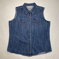 Wrangler Women Large Authentic Medium Blue Wash Cotton Denim Snap Up Vest Pocket