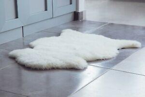 "Genuine Sheepskin Rug Ivory White Sheep Skin Fur -Australian Sheep Rug 22"" x 30"""
