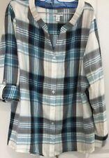 Croft&Barrow Womens Petite Long Sleeves  Buttons Down  Plaid  Shirt Size PL