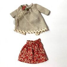 Custom Ooak Blythe blouse and skirt red Handmade floral