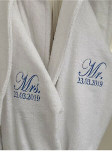 Embroidered Luxury Mr OR Mrs white dressing gown Wedding Anniversary Gift cotton