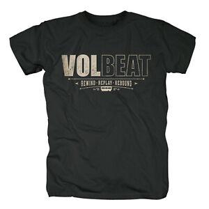 VOLBEAT - Rewind Replay Rebound Distressed Logo Black T-Shirt