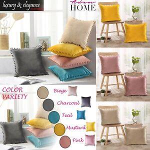 2x Soft Velvet Cushion Cover Pom Poms Home Decorative Sofa Car Throw Pillow Case
