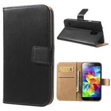 Samsung Galaxy S5 G900 Wallet Case echt Leder Genuine Split Magnet Etui schwarz