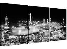 Black and White Islamic Mecca Temple - Religious Multi 3 Panel 125cm Wide Canvas