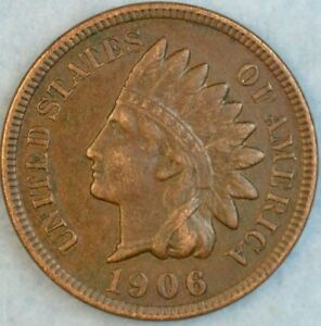 1906 Indian Head Cent Vintage Penny Old US Coin Full Rims Fast S&H 36310