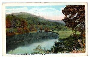 1922 Mt. Baker and Saranac River, Saranac Lake, NY Postcard