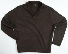 NEW J.CREW 100% Lambswool Mens XL Extra Large Dark Brown Half Zip Sweater