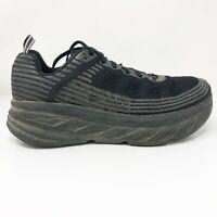 Hoka One One Mens Bondi 6 1019271 BBLC Black Running Shoes Lace Up Size 9 2E