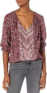 Lucky Brand Women's Border Top Size XL Drawstring Neck Peasant Blouse D5