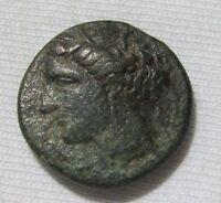 SICILY, SYRACUSE. AE 19, HIERON II, 275-215 BC. KORE/BUTTING BULL.