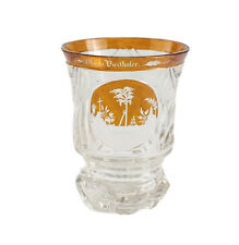 Bohemian Amber on Clear Intaglio Etched Art Glass Goblet, c.1930