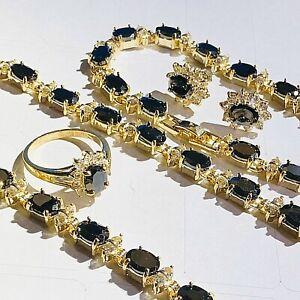 Black Sapphire +Diamante GOLD GF Matching Earrings Necklace Bracelet Ring PlumUK