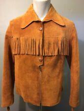 Vtg Ladies Leather Fringe Jacket Shirt Suede Top Womens 14 Hippy Biker Western