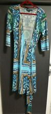 CHARLIE BROWN beautiful true wrap dress, as new, stunning colors and print  12