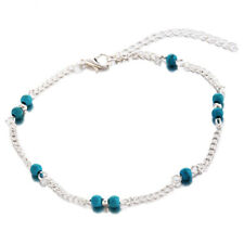 F7 Womens Turquoise Beads Infinity Alloy Anklet Bracelet Foot Chain F6