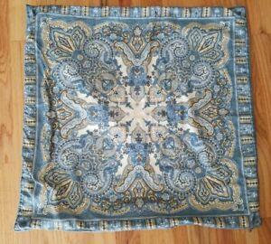 Pottery Barn Zipper Pillow Cover 24x24 Blue Yellow Jacobean Pattern Cotton/Linen