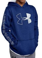 NWT UNDER ARMOUR BOYS BLUE FLEECE BRANDED HOODIE SIZE YOUTH MEDIUM ~ MSRP $40.00
