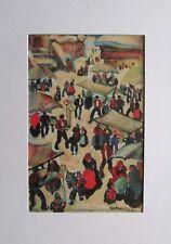 Markt im Winter von Herbert Gurschner -  im Passepartout Kunstdruck art print