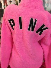 VICTORIA's SECRET PINK Sherpa Boyfriend Quarter Zip Pullover Top Surfer Pink XS