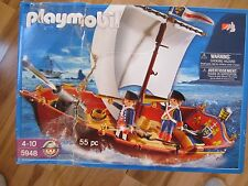 PLAYMOBIL 5948 Playmobil Soldiers Boat Sail set New British Officers Cannon Toy