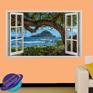 TREE SEA VIEW OCEAN HAWAII 3D WINDOW WALL STICKER ROOM DECORATION DECAL MURAL