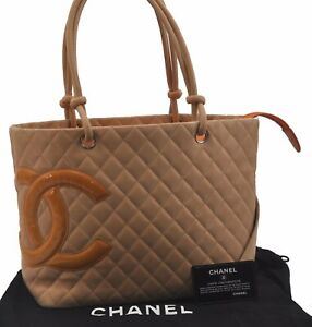Auth CHANEL Cambon Line Quilted CC Logo Tote Shoudlder Bag Calf Skin Beige C1480