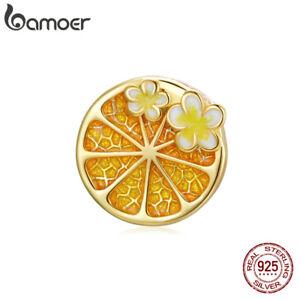 BAMOER S925 Sterling Silver DIY Charm Enamel Cherry Blossom lemon For Bracelet