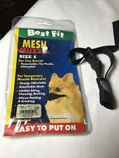 "Coastal Best Fit Mesh Muzzle Size 1 black Pomeranian Toy Poodle 3"" Nose Size New"