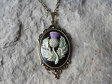 SCOTTISH THISTLE (HAND PAINTED) CAMEO NECKLACE!!! QUALITY!!! SCOTLAND EMBLEM
