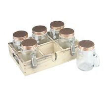 6 x Mini Mason Drinking Jars Shot Glasses With Handle Copper Lid Wooden Tray Set