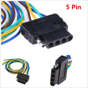5Pin Plug Trailer Signal Light Wiring Harness Extension Cable Wire Connector 36""