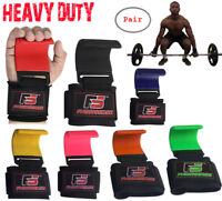 FS Heavy Duty Weight Lifting Steel Hooks Wrist Support Straps Power Gripper Pair