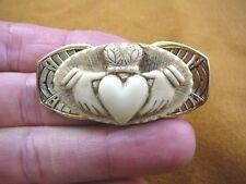 CM38-98) CLADDAGH ivory oval CAMEO Irish heart Pin Pendant traditional jewelry