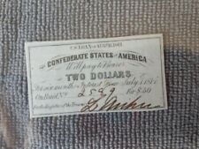 Confederate States of America Two Dollar Bond note