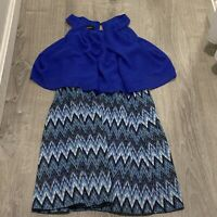 Amys Closet Girl Dress Sz 16 Royal Blue Chevron Sleeveless Knee Length Party UB4