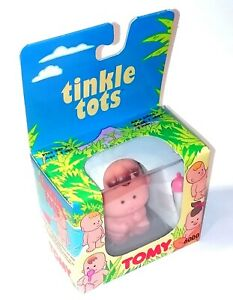 1990's Tomy Tinkle Tots ~ BROWN BABY PEE PEE BOY DOLL with Bottle ~ BNIB MIB