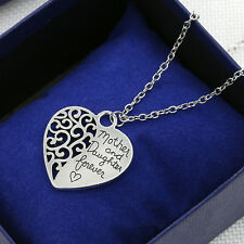 """M&C 2xLadies Silver Mother And Daughter Forever Heart Chic Pendant Necklace 18"""""""