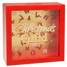 Christmas Fund Money Box Frame Glass Saving Novelty Xmas Piggy Bank Tin Gifts