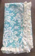 Anthroplogie Shower Curtain Aqua floral Ruffled Trim EUC