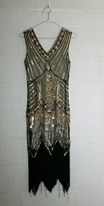 Metme 1920's vtg style Flapper Fringed Party Dress Silver Silver Black