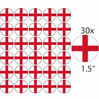 30 ENGLAND PREMIUM 4cm RICE PAPER WORLD CUP CAKE TOPPERS ST GEORGES DAY CROSS D1