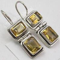 "925 Sterling Silver Natural CITRINE 2 GEMSTONE WOMEN'S CUTE Earrings 1.1"" NEW"