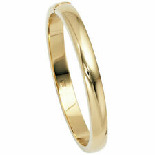 Bangle Bracelet Made Of 925 Silver Gold Plated Smooth Shiny Plain Ladies