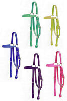 Western Saddle Horse Doubled Nylon Bridle Headstall Purple Yellow Pink Mint Blue