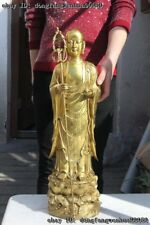 Chinese Buddhism Temple Pure Brass Copper Ksitigarbha Boddhisattva Buddha Statue