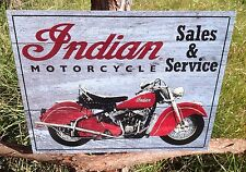 INDIAN MOTORCYCLE Parts Service Vintage Sign Tin Metal Wall Garage Rustic Old